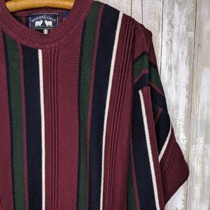 Vintage Woods & Gray Color Block Striped Sweater